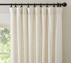 "Emery Linen/Cotton Drape | Pottery Barn 50x84"" w/ blackout lining is $135 each (is width enough?)"