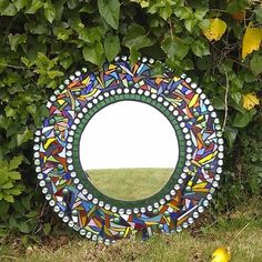 Garden Mosaic Mirror - Folksy - for the leaf mosaic behind Mirror Mosaic, Mosaic Art, Mosaic Glass, Mosaic Tiles, Glass Art, Stained Glass, Glass Mirrors, Mirror Art, Tiling