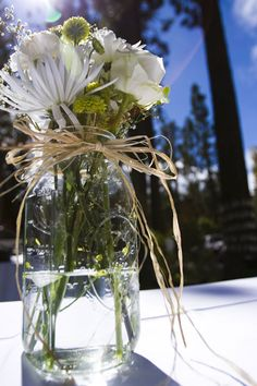 Weekend Mountain Wedding: Mrs. Espresso's Details: Mason Jar Centerpieces