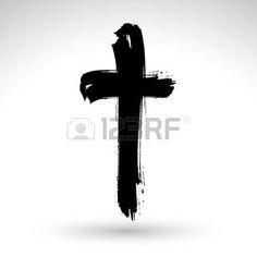 tatouage religieux: Tiré par la main noire grunge croix icône, simple signe de la croix chrétienne, symbole de la croix peinte à la main créé avec une brosse d'encre réelle isolé sur fond blanc.