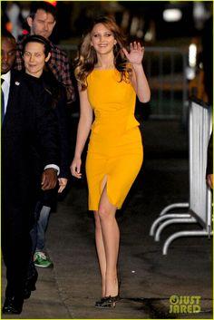 "Jennifer Lawrence.    "" Emilio Pucci dress."""