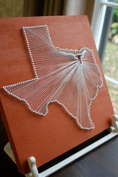Texas Longhorn // Reclaimed Wood Nail and String Tribute to the University of Texas