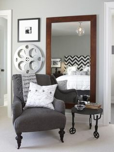 One of the easiest solutions for a small bedroom is to decorate with mirrors. Mirrors reflect light and have the power to visually enlarge any space. The bigger the mirror, the better.