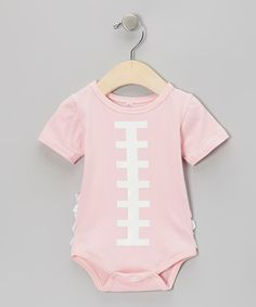Take a look at this Pink Football Ruffle Bodysuit - Infant on zulily today!