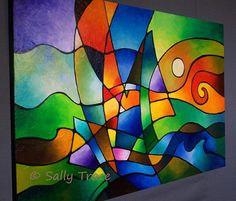 Into the Wind 24x36 inches, canvas depth is 1.5 inches deep. A colorful abstract painting of a ship on the high seas. *** This is a MADE-TO-ORDER painting which means I will be creating a new original painting for you that will be very similar to this painting, but with slight