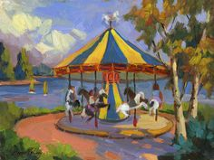 carousel painting | Carousel Painting by Diane McClary - The Village Carousel Fine Art ...