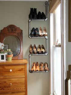 20 Creative Shoe Storage Ideas For Small Spaces. Pipe as creative shoe rack This creative DIY pipe rack does not only hold your shoes but also adds a touch of industrial modern charm to any apartment.