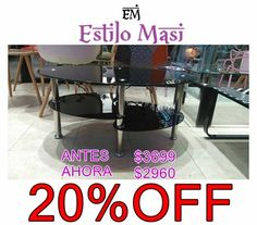 HOT SALE!!! Shop OnLine: http://articulo.mercadolibre.com.ar/MLA-666067109-hot-sale-mesa-ratona-lucia-linea-moderna-_JM ANTES: $3699 AHORA: $2960 TODOS LOS MEDIOS DE PAGO! TODAS LAS TARJETAS! APROVECHAAA <3