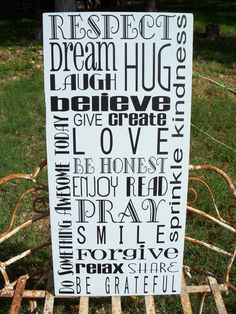 INSPIRATION Subway Art Sign - Family Rules- Love sign- Mothers Day Gift - House Rules. $54.95, via Etsy.