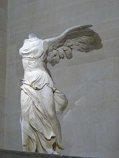 The Winged Victory of Samothrace. also called the Nike of Samothrace. is a BC marble sculpture of the Greek goddess Nike (Victory). also she was a feared god. it was because she also had strength. Ancient Greek Sculpture, Greek Statues, Ancient Greek Art, Ancient Greece, Famous Greek Sculpture, Buddha Statues, Hellenistic Art, Hellenistic Period, Statue Of Liberty Crown