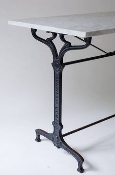 French Art Nouveau Bistro Table Of Black Painted Iron With Marble Top