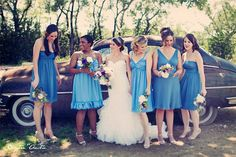 Bridesmaids, different dresses with matching shoes Brides And Bridesmaids, Bridesmaid Dresses, Wedding Dresses, Different Dresses, Rustic Feel, Wedding Attire, Shades Of Blue, Vintage Cars, Dream Wedding