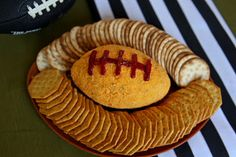 Football-shaped cheeseball for game day!