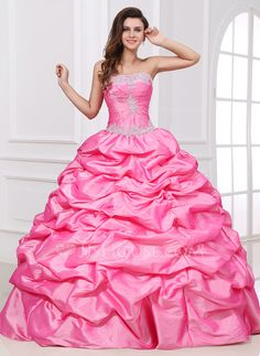 Ball-Gown Sweetheart Floor-Length Taffeta Quinceanera Dress With Ruffle Beading Appliques Lace Sequins (021017408) - JJsHouse