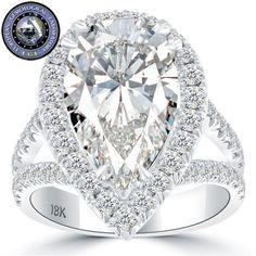 7.51 Carat EGL Certified H-SI1 Pear Shape Diamond Engagement Ring 18k Pave Halo - Vintage Engagement Rings - Engagement