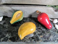 Culinary Display, Faux Cashew, Avocado and other, Wooden Collectible Figurines, Home, Office, Kitchen & Farmhouse Decor, Retro Fake Foods by TheStorageChest on Etsy