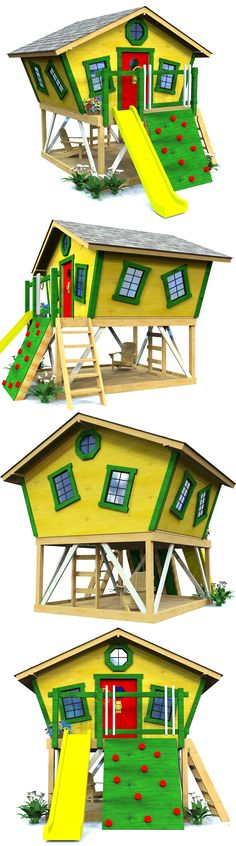 8x8, elevated playhouse with slanted walls and a front porch. Download the plans today!