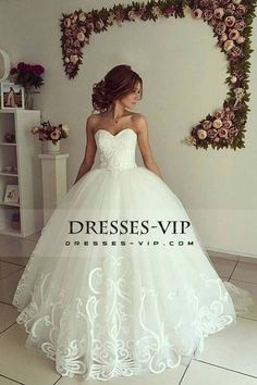 2017 Sweetheart A Line Tulle Wedding Dresses With Applique Sweep Train US$ 269.99 VPPLMQE2GE - Dresses-Vip.com