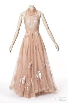 Dress, tulle, Madeleine Vionnet, 1938. It appears that this look is back in style for 2017, with bigger dress skirts & bare shoulders.