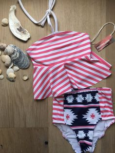 %Girls Pink Peplum Stripe Bikini Striped Bikini, Pink Stripes, Pink Girl, Bikini Tops, Little Girls, Peplum, Delicate, Bikinis, Fabric