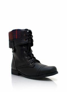 vegan lace-up leather combat boots