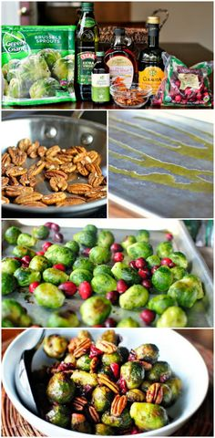 Roasted Brussels Sprouts w/ Cranberries & Pecans