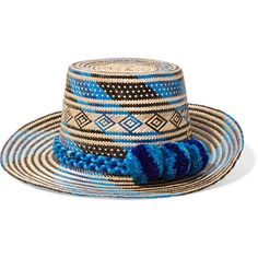 Yosuzi Pompom-embellished woven straw sunhat ( 345) ❤ liked on Polyvore  featuring accessories 11cd753e2ae3