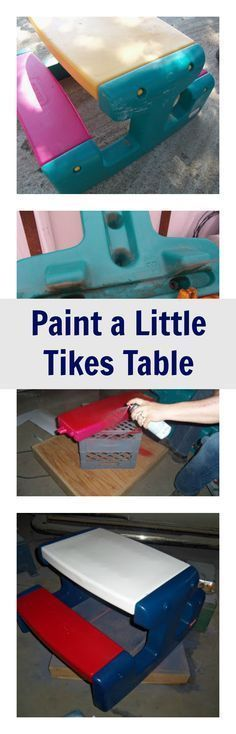 See how we used Krylon Plastic Spray Paint to refinish a Little Tykes play picnic table toy.