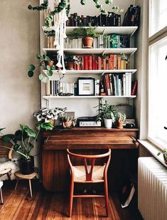 20 Scandinavian Bookshelves Ideas That Will Make Your Living Room Looks Cozy - Scandinavian design ideas to help you bring the iconic interior to your own home. Home Office Design, Home Office Decor, Diy Home Decor, Room Decor, Office Ideas, Office Inspo, Office Nook, Workspace Design, Office Designs
