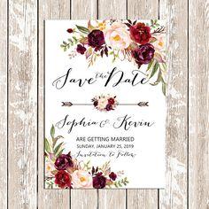 Printable Save the date Wedding Burgundy by HappyLifePrintables