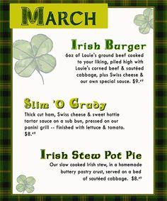 March Monthly Specials! #Irish #March #Burgers #Pot Pie