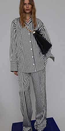 CELINE BLACK & WHITE SHINY FLUID STRIPE PYJAMA SHIRT