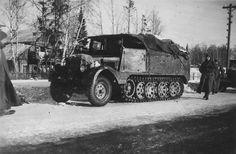 A Hanomag SdKfz 11 medium halftrack on the move through occupied Russian territory