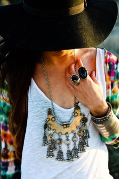 necklace and hat boho style