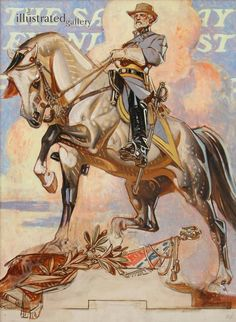 "Leyendecker, ""Robert E. Lee on Traveler"", Study for the Saturday Evening Post Cover, 1940 American Illustration, Illustration Art, Jc Leyendecker, Norman Rockwell, Traditional Paintings, Horse Art, Figure Painting, Art Inspo, Illustrators"