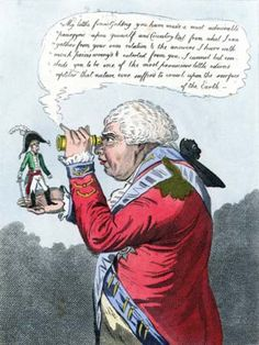 "A political cartoon by James Gillray in which George III (the big guy) says to little Napoleon (who was actually taller than Danny DeVito): ""I cannot but conclude you to be one of the most pernicious little odious reptiles that nature ever suffered to crawl upon the surface of the Earth."" BURN!"