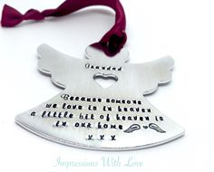 in memory angel ornament, personalised christmas decoration, memorial gift, sympathy gift, remembrance angel, mum, grandad, nan, dad by ImpressionsWithLove on Etsy https://www.etsy.com/uk/listing/475975742/in-memory-angel-ornament-personalised