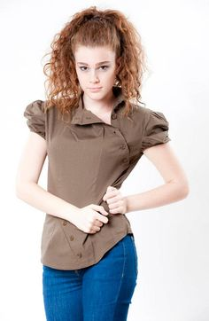 Women Blouse Top Tailored Brown Puff Short Sleeves Cap by TADSON, $52.00