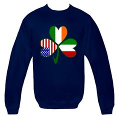 Fun design for St. Patrick's Day, Independence Day and Italian holidays. Shows a #shamrock with a flag in each leaf: USA, Ireland and #Italy. Show your love and pride in all your heritages, ancestries and cultures at once! For travelers, it makes a cool way to show the places you have been. $29.99 http://ink.flagnation.com from your @Auntie Shoe