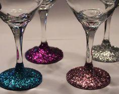 Glitter Wine Glasses - Set of 4