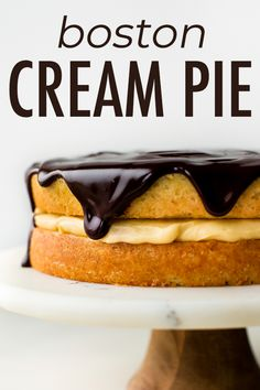 Completely from-scratch with homemade pastry cream, buttery sponge cake, and shiny chocolate glaze, this classic Boston cream pie recipe is supremely decadent and satisfying. Easy Smoothie Recipes, Easy Cake Recipes, Cupcake Recipes, Sweet Recipes, Dessert Recipes, Cheesecake Recipes, Chocolate Cake From Scratch, Shiny Chocolate Glaze Recipe, Chocolate Cream