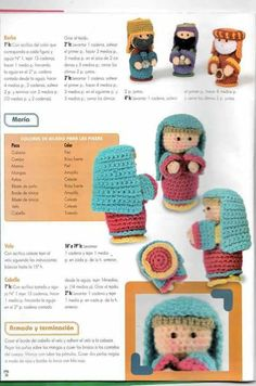 Pesebre Amigurumi patron 2 Crochet Christmas Trees, Christmas Nativity Scene, Crochet Ornaments, Holiday Crochet, Christmas Crafts, Crochet Disney, Crochet Doll Pattern, Crochet Dolls, Knitting Patterns
