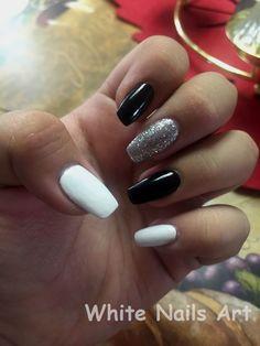 Coffin nails black white and silver nail art in 2019 designs - small White And Silver Nails, Black Nails, Red Nails, Hair And Nails, Pastel Nails, Silver Nail Designs, Acrylic Nail Designs, Black And White Nail Designs, Nails Kylie Jenner