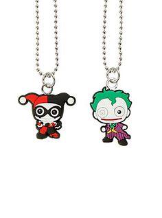 DC Comics The Joker & Harley Quinn Kawaii Necklace Set,