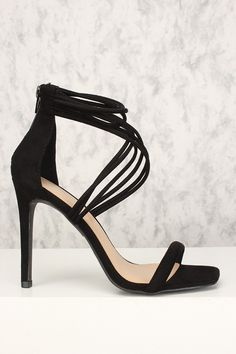 d7f7d8d966512 Sexy Black Open Toe Strappy Accent Single Sole High Heels