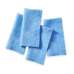 Italian Washed Monogrammed Linen Dinner Napkins - Set of 4 | Mark and Graham