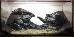 thatfishchick:  fuck-yeah-aquascaping:  Hardscape before planting for my old 112l tank —- will keep low tech, only using plants and materials I already had.  I actually would love to see this filled and stocked WITHOUT plants. It's a gorgeous, alien landscape with unusual features that would look ab-fab with stocking of an unusual fish. Perhaps a small schooling animal like a unique type of tetra or barb.  Too late :)Photos of the planted setup coming soon :)