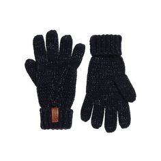 Superdry North Cable Knit Gloves (€14) ❤ liked on Polyvore featuring accessories, gloves, navy, navy blue gloves, leather gloves, navy blue leather gloves, superdry and cable knit gloves