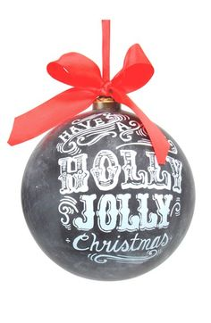 Free shipping and returns on Sage & Co  'Holly' Chalkboard Ornament at Nordstrom.com. A festive yuletide message is painted atop a glass chalkboard-style ornament tied with a big red bow—perfect for trimming the tree.