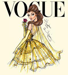 #Hayden Williams Fashion Illustrations #Disney Divas for Vogue by Hayden Williams: Belle
